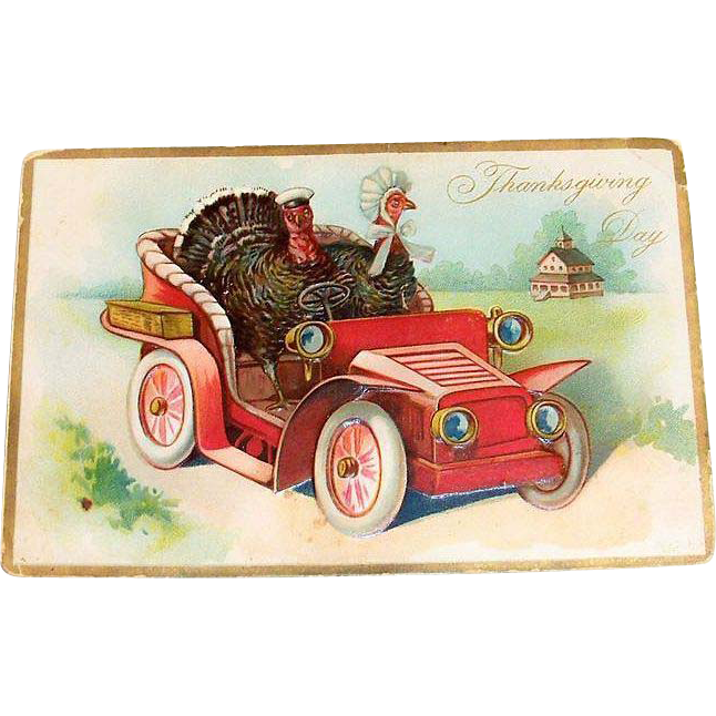 "Tuck & Sons: Embossed ""Thanksgiving Day"" Mr. & Mrs. Turkey Postcard"