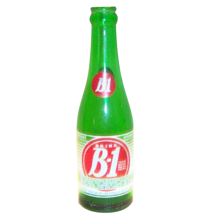 Drink B-1 Green Glass Soda Bottle - Marked