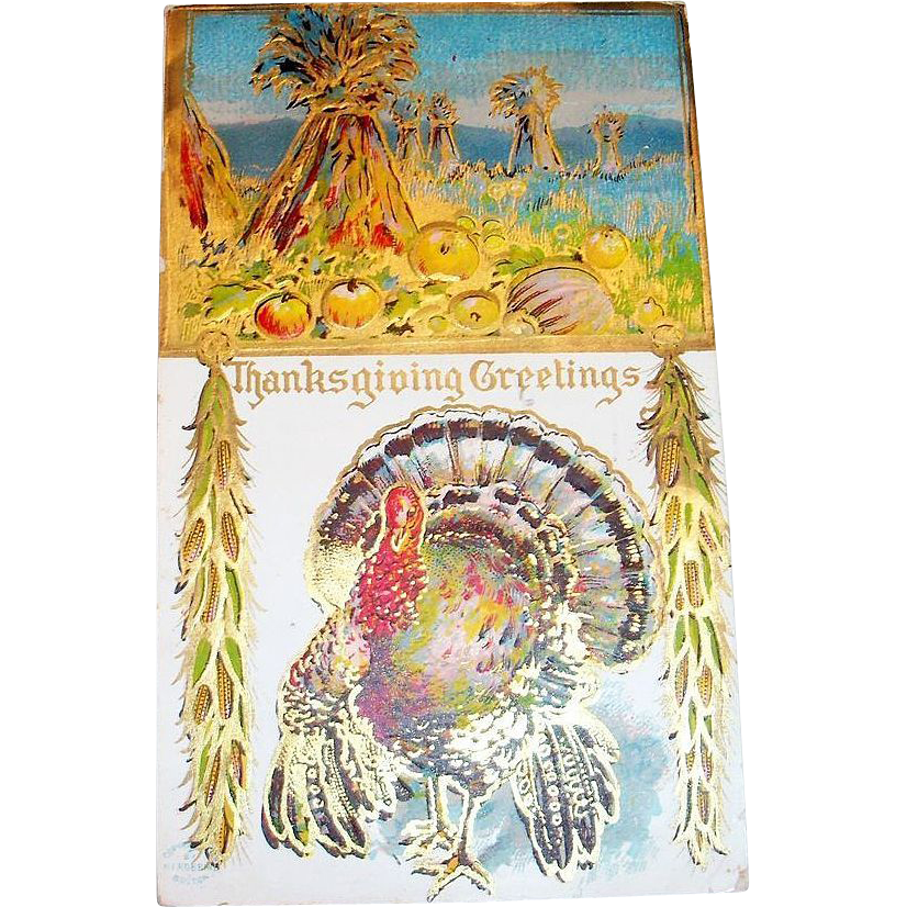 Thanksgiving Greetings: Turkey & Pumpkin Scene Postcard