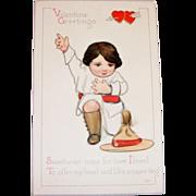Valentine Greetings: Boy Kneeling Postcard