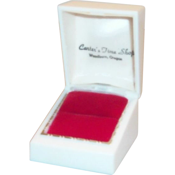 Carter's Time Shop White Plastic Ring Display Box - Marked