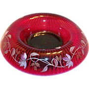 Fenton Glass Hand Painted & Signed Ruby Red Console Bowl & Stand