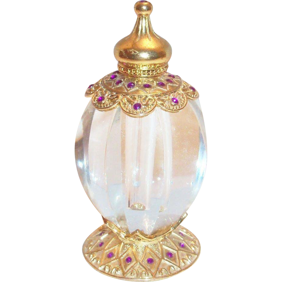 Gold Tone Filigree Design Perfume Bottle With Rhinestones