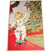 "A Merry Christmas ""Toddler & Christmas Tree Postcard"