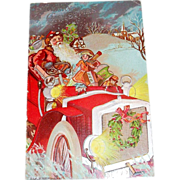 A Merry Christmas: Santa Delivering Toys in Old Jalopy Postcard