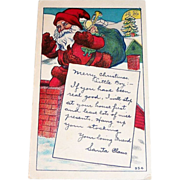 Vintage Santa Claus Going Down Chimney Postcard