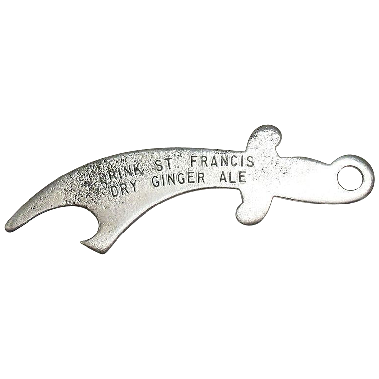 St. Francis Dry Ginger Ale Sword Shaped Metal Bottle Opener