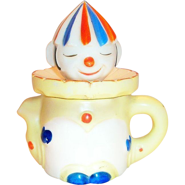 Vintage Handpainted Porcelain Clown Juicer & Pitcher
