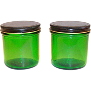 Owens Duraglas 8 Oz Green Transparent Glass Jar with Tin Lid
