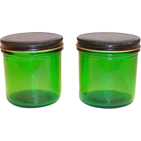 Owens Duraglas 8 Oz Green Transparent Glass Jar with Tin Lid