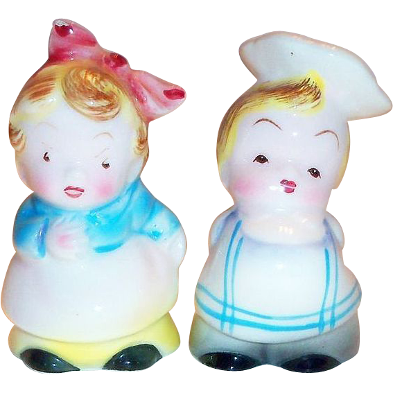 PY Small Porcelain Little Chef & Waitress Salt & Pepper Set