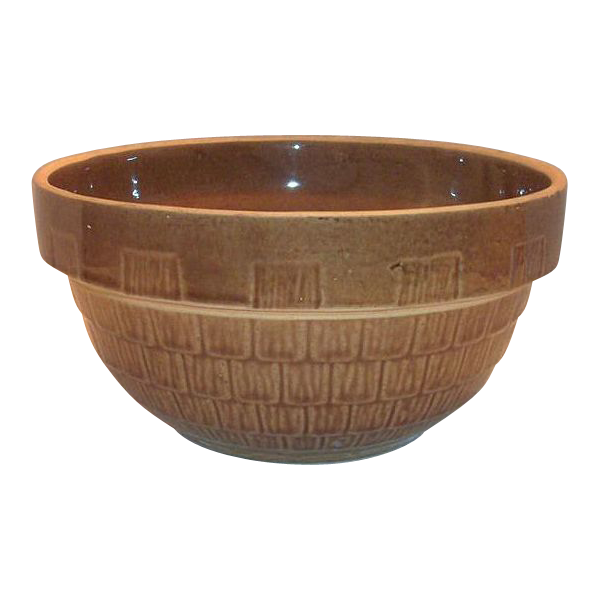9 Inch Round Brown Pottery Bowl
