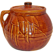 McCoy #2 - 2 Qt Brown With Leaf & Bean Pattern Bean Pot
