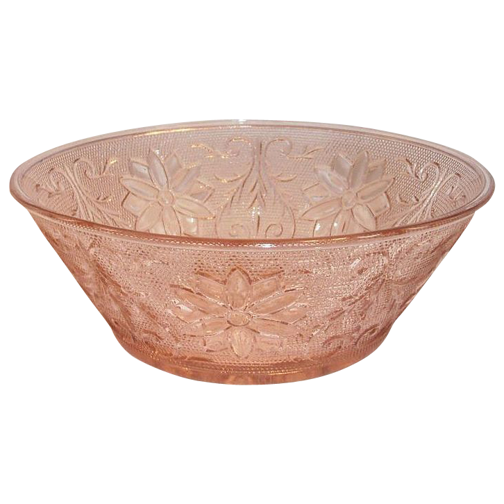 Tiara Crystal Pink/Peach Sandwich Glass Salad Serving Bowl