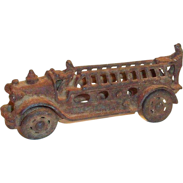 "Vintage 1920's Cast Iron 5""L Toy Fire Truck"