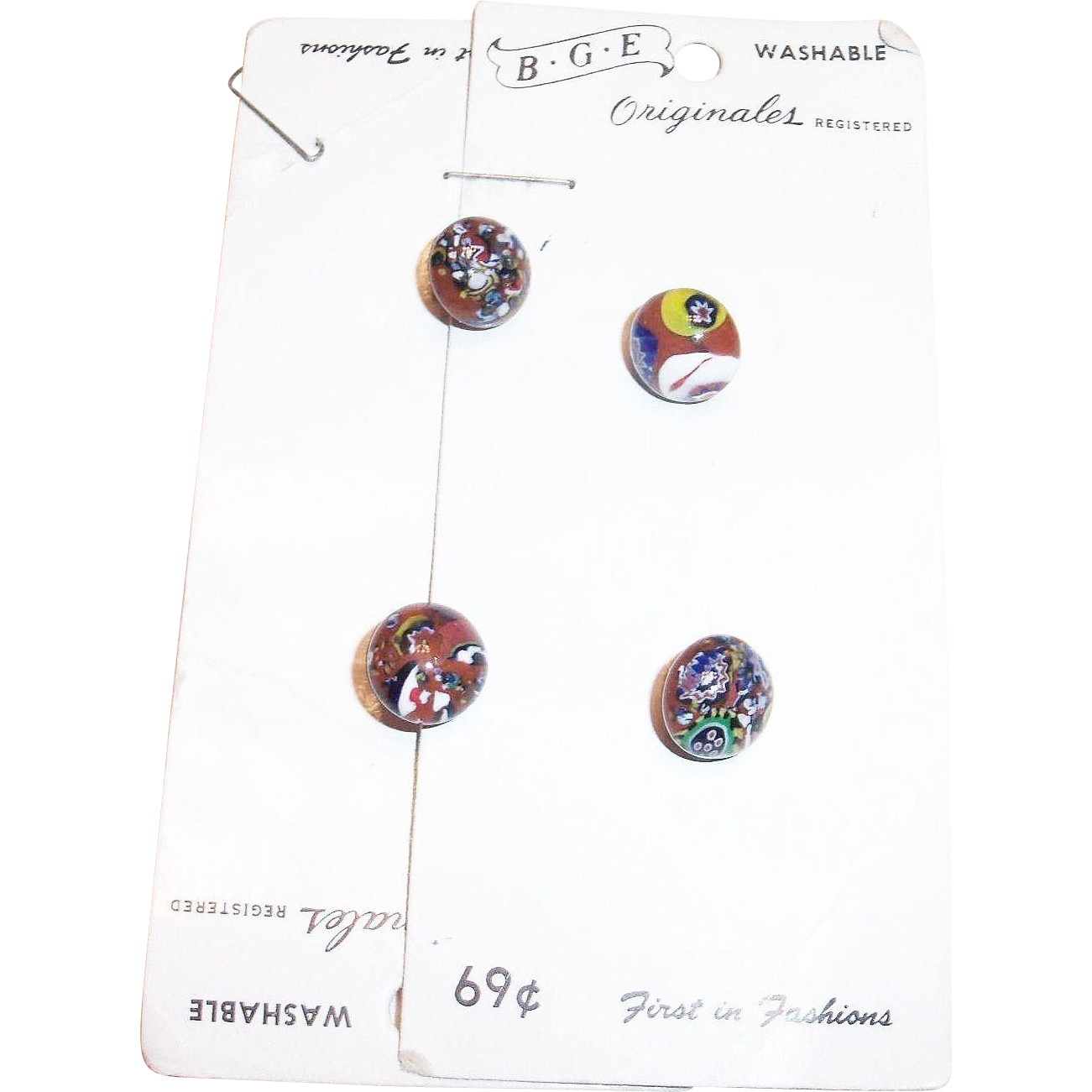 Four Vintage B.G.E. Originals Murano Glass Buttons On Original Cardboard Plackets