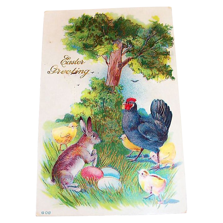 Easter Greetings: Rooster & Animal Friends Postcard