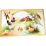 """Easter Greetings"" Farm Scene with Rooster & Chicks Postcard"