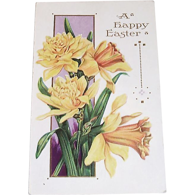 A Happy Easter Yellow Lilies & Leaves Postcard