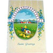 Easter Greetings, Scenic Farm Scene Postcard