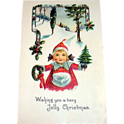 Vintage Wishing You A Very Jolly Christmas Postcard