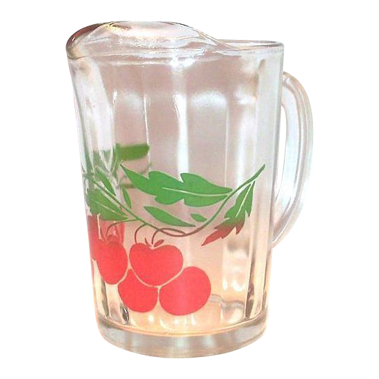 Cherry & Leaf Design On Clear Glass Pitcher