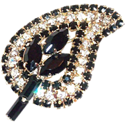 Weiss Black Marquis & Crystal Rhinestone Pin