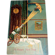 Vintage Embossed A Happy New Year Postcard