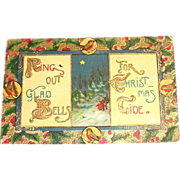 "Vintage ""Ring Out Glad Bells, For Christmas Tide"" Postcard"