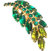 Lovely Two-Tone Green Marquis Glass Rhinestone Pin/Brooch