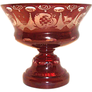 Kristallglas Etched Ruby Glass & Clear Compote/Comport