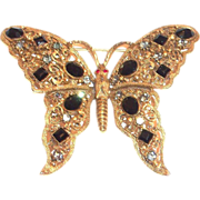 Florenza Black Glass Rhinestone & Filigree Butterfly Brooch/Pin