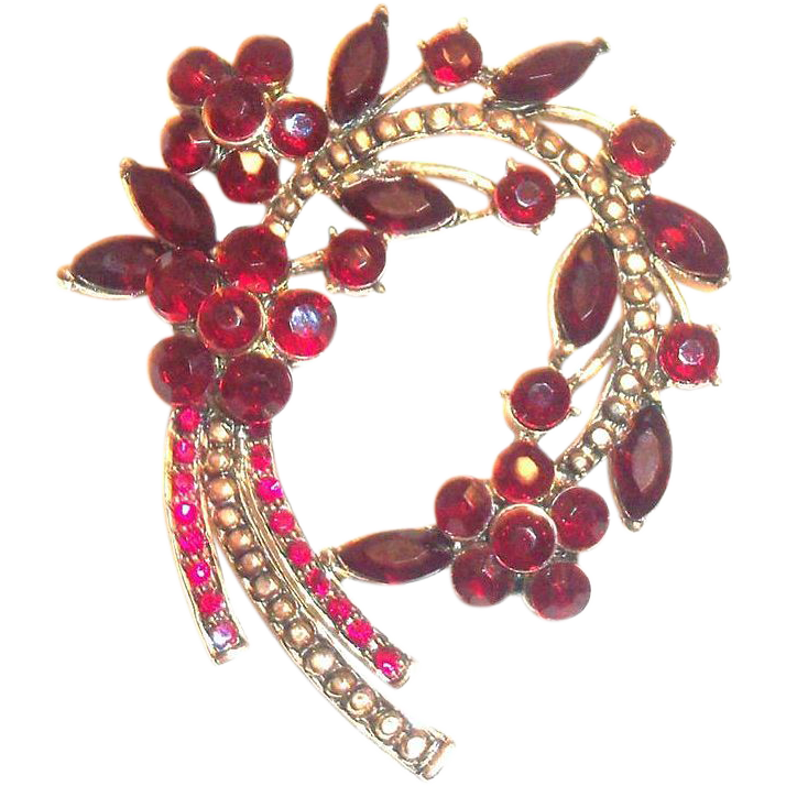 Lovely Ruby Red Rhinestone & Marquis Floral, Leaf & Stem Design Pin