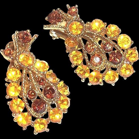 Lovely Topaz & Amber Glass Rhinestone Leaf Design Earrings