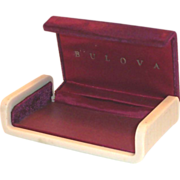 Vintage Dark Red Velvet Top Bulova Watch Display Box