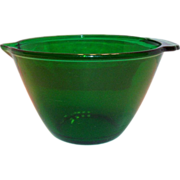 Anchor Hocking Green Transparent Glass Batter Bowl