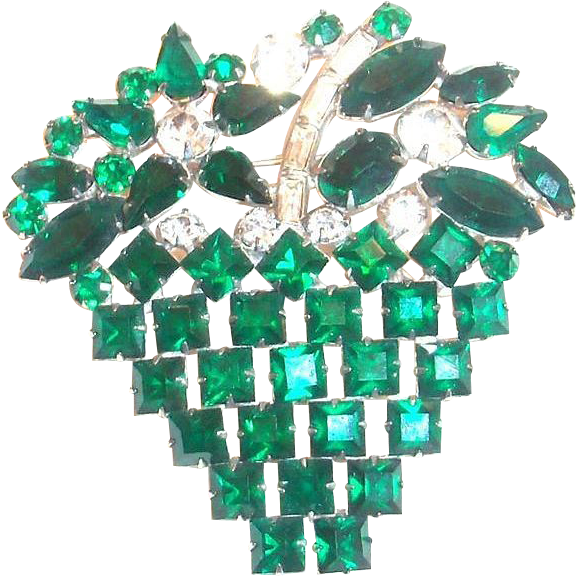Lovely Emerald Green & Clear Rhinestone Basket & Flowers Pin