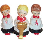 Lefton 3 Pc Porcelain Christmas Choir Boy Figurines