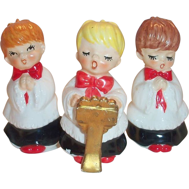 Vintage Ceramic Christmas Carolers Choir Boy And Girl: Lefton 3 Pc Porcelain Christmas Choir Boy Figurines SOLD