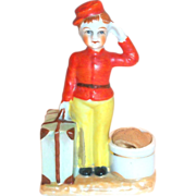 Darling Porcelain Bell Boy Pincushion Figurine