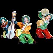 3 Pc Hand Painted Porcelain Musical Pixie Elves Figurine Set