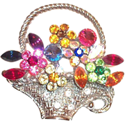 Lovely Rhinestone Floral Design & Basket Pin