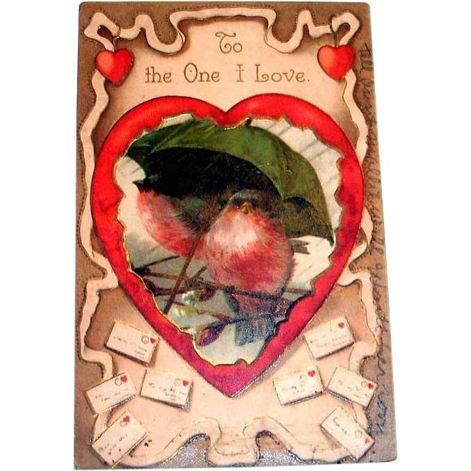 "Vintage ""To The One I Love"" Valentine Postcard"