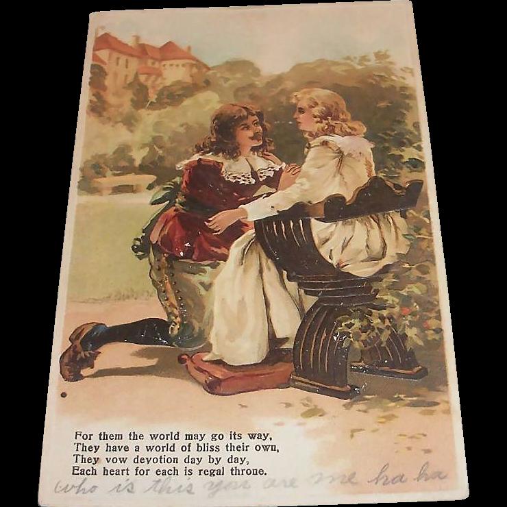 Vintage Renaissance Style Couple Postcard - 1907