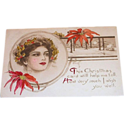 Vintage 1911 This Christmas Card/Wish You Well Postcard