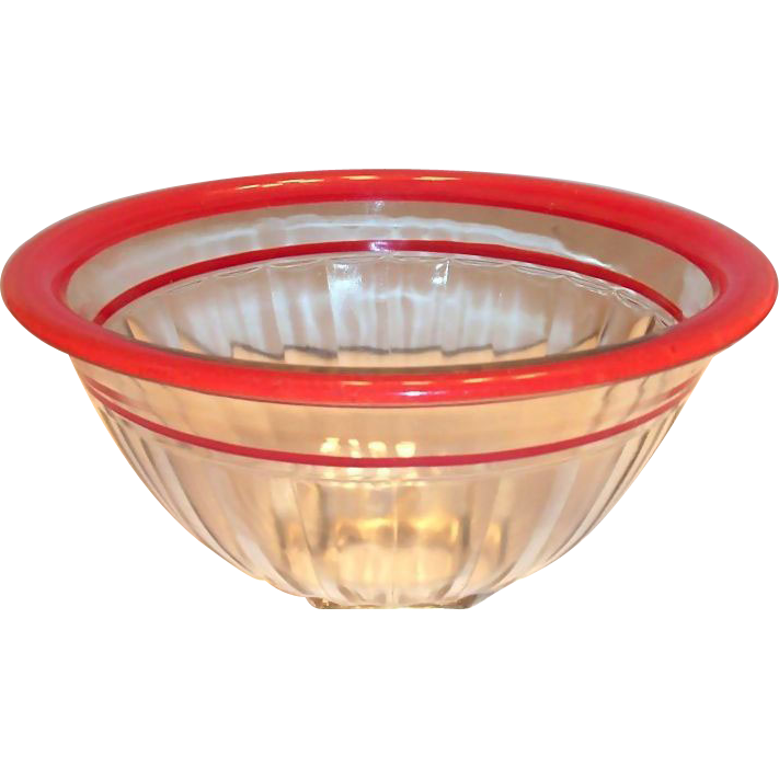 1940's Bartlett-Collins Red Trim Pillar Optic Ribbed with Squared Base Bowl