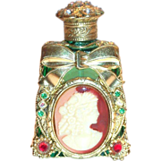 Green Glass Perfume Bottle With a Plastic Cameo & Rhinestones