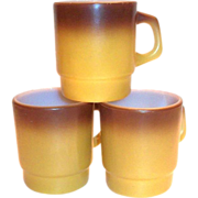 Fire King Gold Tone & Brown Homestead Glass Mug