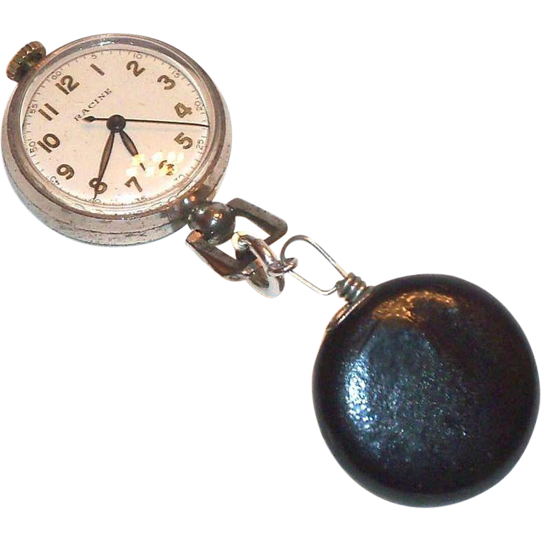 Vintage Racine Nun/Nurse's Lapel Watch on Pull Chain