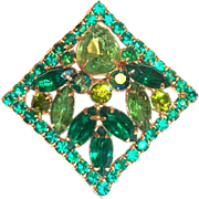 Weiss Two-Tone Green Glass Rhinestone, Marquis & Borealis Pin